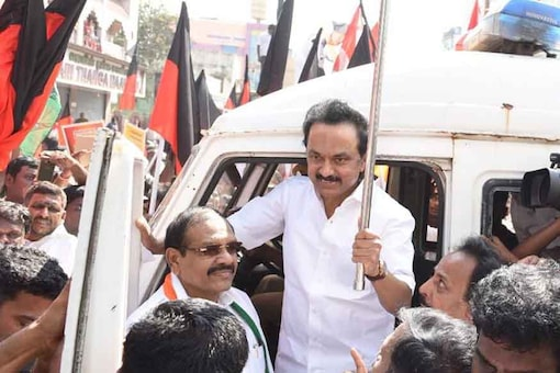 DMK Working President MK Stalin during a protest against the bus fare hike in Tamil Nadu. (News18)