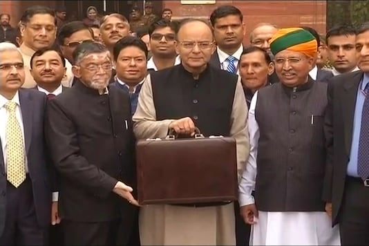 File photo of Finance Minister Arun Jaitley with budget briefcase in New Delhi.