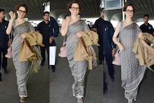 Kangana Ranaut Ups Her Airport Style In Saree With Loafers And Space Buns; See Pics