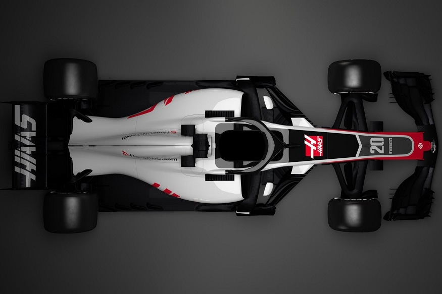 Haas 2018 racecar with Halo shield top view. (Image: Haas)