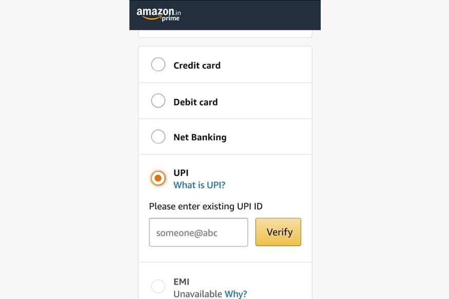 Amazon India UPI Payment Option
