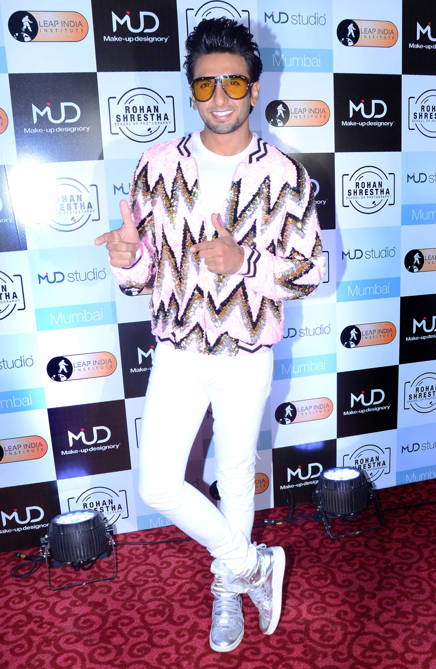Bollywood actor Ranveer Singh poses for photographers during the launch of MUD Studio in Mumbai. (Image: Yogen Shah)