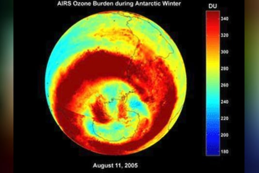 The hole in the ozone layer over the Antarctic is seen in this image produced with data taken between August 1, 2005 and September 30, 2005. (Photo: Reuters/NASA Jet Propulsion Laboratory/Handout)