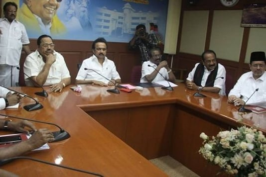 MDMK founder Vaiko (second from right) participates in an all-party meeting at the DMK headquarters in Chennai on Tuesday. DMK Working President MK Stalin (centre) chairs the meet.