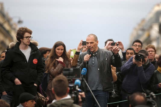 "File photo of former Greek Finance Minister Yanis Varoufakis speaking in front of supporters of social media-driven movement ""Nuit Debout"" (Up All Night). (Reuters)"