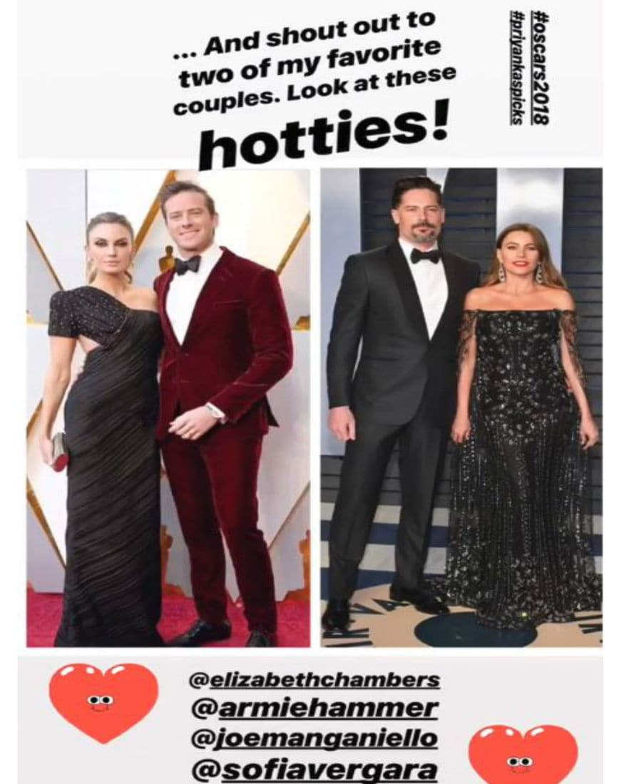 (Photo: Armie Hammer in a maroon velvet Giorgio Armani suit alongside his wife, Elizabeth Chambers Hammer/ Sofia Vergara in a beaded black gown by Ralph & Russo alongside husband Joe Manganiello/ Instagram)