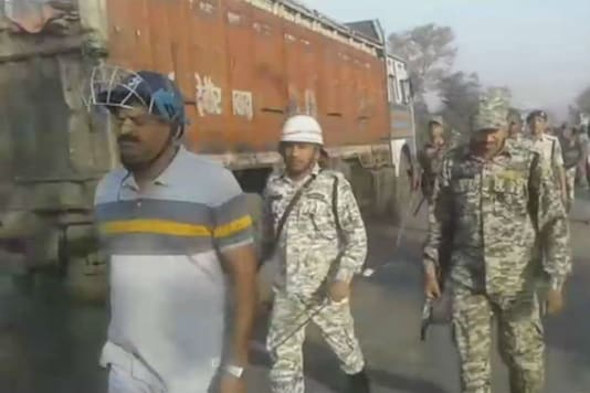 Security personnel seen monitoring the situation in Bihar's Nawada on March 30, 2018.