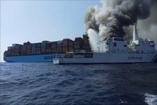 Maersk Honam caught fire around 390 nautical miles off the Agatti island in Lakshadweep last Tuesday while sailing from Singapore to Suez. (News18)