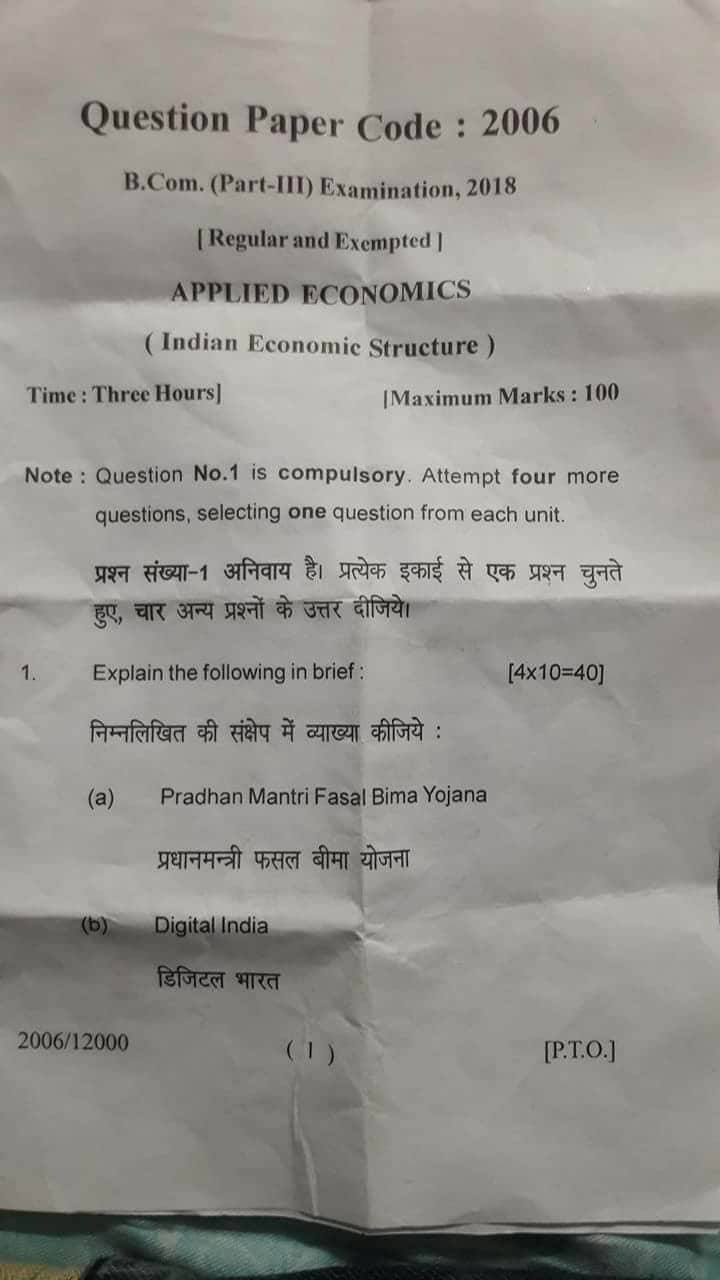 Lucknow University's B.Com question paper