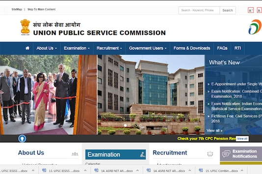 Screen grab of the official website of UPSC.