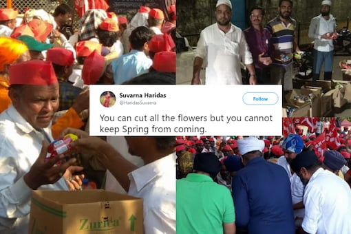 Photo credits: Left: @KisanSabha / Twitter, Right (top): @SudeepSudhakrn / Twitter, Right (below): @KisanSabha / Twitter