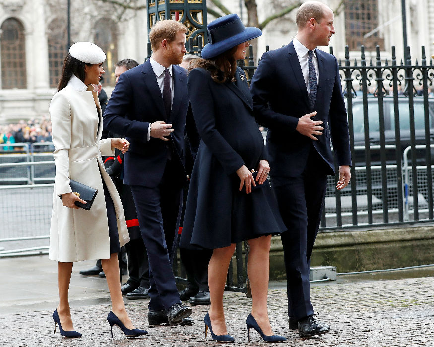 Britain's Prince Harry, his fiancee Meghan Markle, Prince William and Kate, the Duchess of Cambridge, arrive at the Commonwealth Service at Westminster Abbey in London, Britain, March 12, 2018/ Reuters