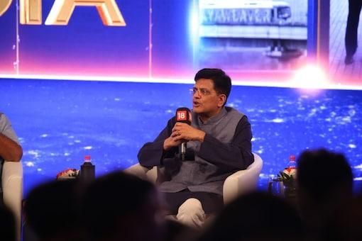 Railway minister Piyush Goyal at News18's Rising India Summit in New Delhi on March 16, 2018. (Image: News18)