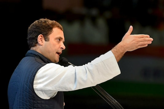 Congress chief Rahul Gandhi speaks during the second day of the party's 84th Plenary Session at the Indira Gandhi stadium in New Delhi on March 18. (PTI)