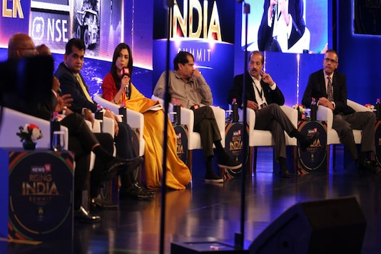 MakemyTrip CEO Deep Kalra (extreme right) at the second session at the News18 Rising India Summit.