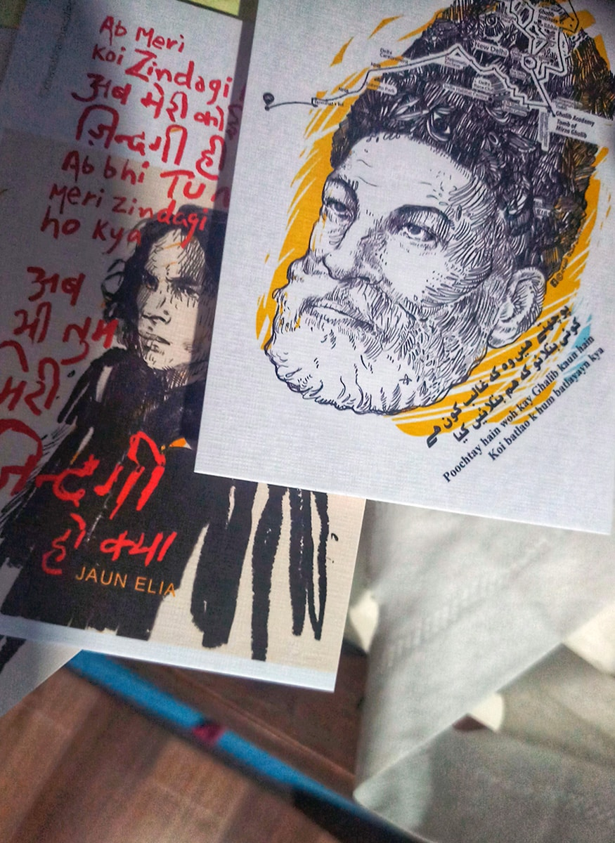 He runs an initiative called 'Khwaab Tanha Collective' which recreates portraits of veteran Urdu poets and writers for contemporary consumers using pop art and iconography. |Posters of John Elia and Mirza Ghalib | (Image: News18/ Rakhi Bose)
