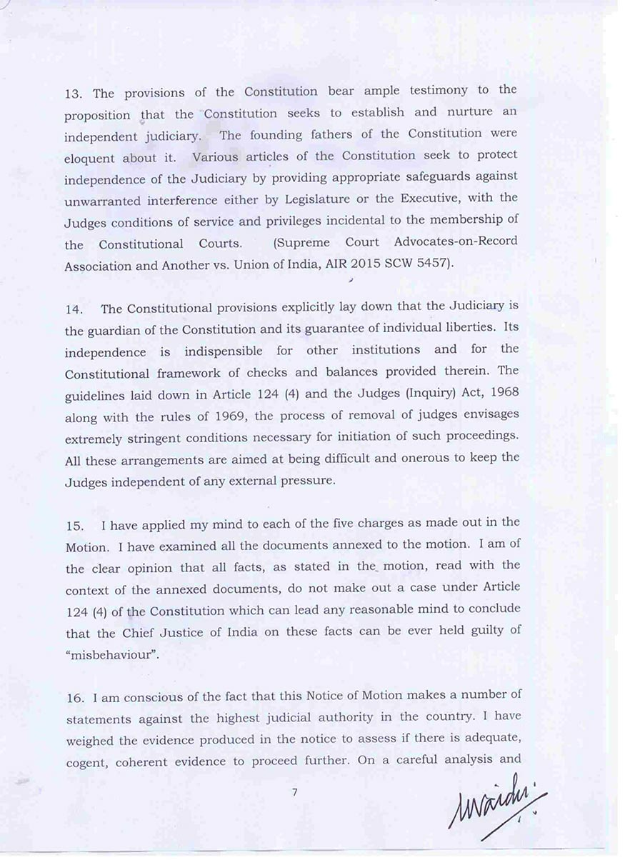 Vice President Venkaiah Naidu Rejects Impeachment Motion Against CJI Dipak Misra