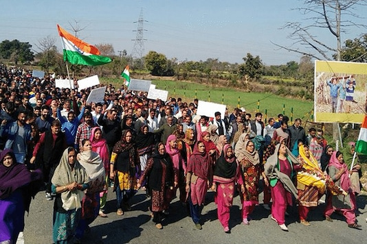 A protest organised by the Hindu Ekta Manch in Kathua. (Twitter)