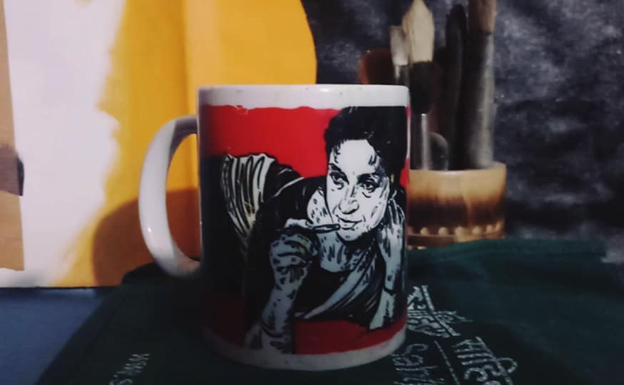 The artist also works on improving the representation of women in previous Urdu poetic and artistic traditions and also popularize female writers in other languages | A mug printed with an illustration of Punjabi poetess Amrita Pritam | (Image: News18/Rakhi Bose)