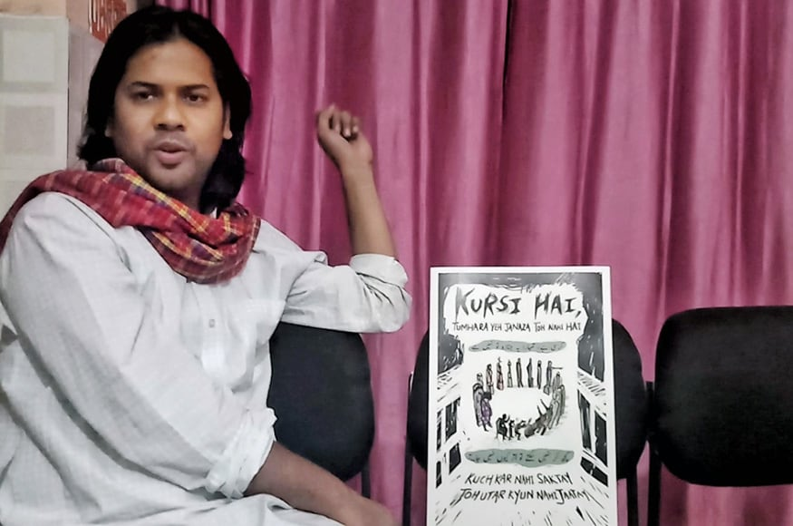 Shiraz Hussain is a resistance artist who believes art needs to make people uncomfortable and question the status quo | (Image: News18/Rakhi Bose)