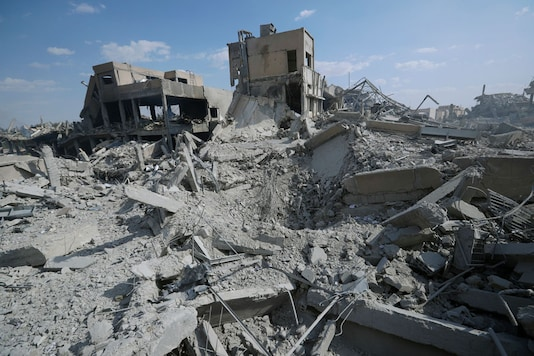 A general picture shows the damage of the Syrian Scientific Research Center in Barzeh, near Damascus, Syria. (Image: AP)