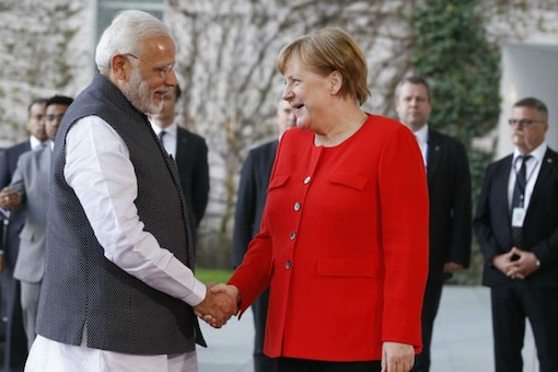 German Chancellor Angela Merkel greets Prime Minister Narendra Modi during their meeting in Berlin, Germany on April 20, 2018. (REUTERS/Axel Schmidt)