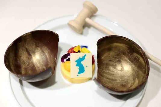 A dessert which will be served at the inter-Korean summit banquet is seen in this handout provided by the Presidential Blue House on April 24, 2018. (REUTERS)