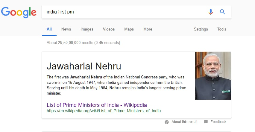 Here's Why 'India's First PM' Google Search is Showing