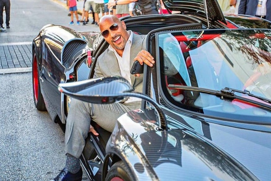 Dwayne Johnson with his Pagani Huayra (Image: DriveTribe)