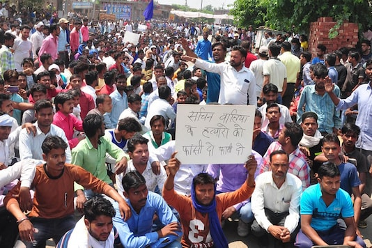 File Photo of Dalit protests after death of Bhim Army member Sachin Walia in Saharanpur. (Image courtesy: Firstpost)