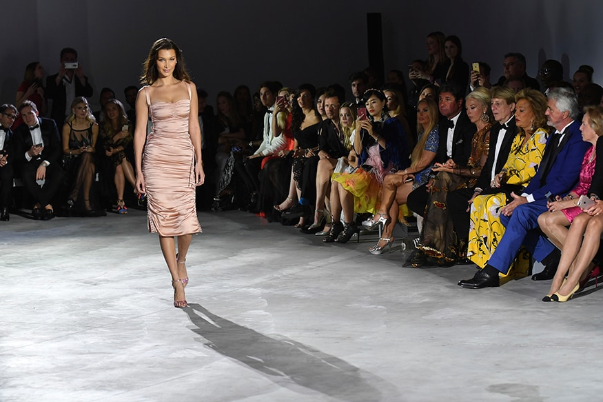 Model Bella Hadid walks the runway at the Fashion For Relief Charity 2018. (image: AP)