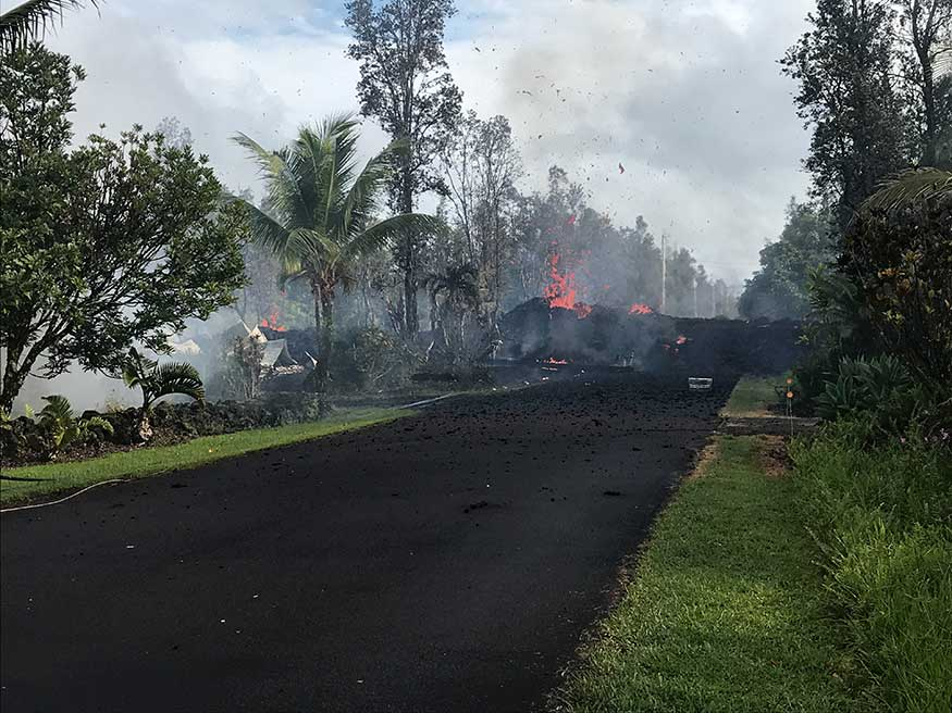A fissure on Leilani and Kaupili Streets in the Leilani Estates subdivision caused by an eruption of the Kilauea Volcano. (Image: Reuters)