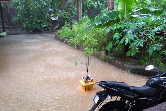 The verandah of a house in Mangaluru has been flooded due to incessant rain (News18)