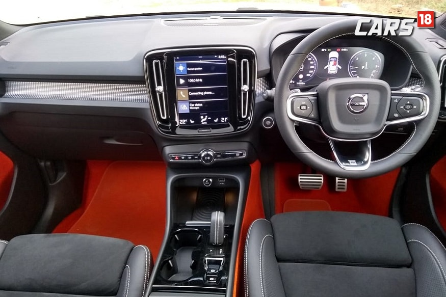Volvo XC40 has a black and lava cabin. (Image: Arjit Garg/News18.com)