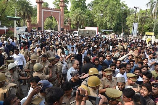 Scene outside the Aligarh Muslim University on May 2, 2018. (File photo: Manoj Aligadi)
