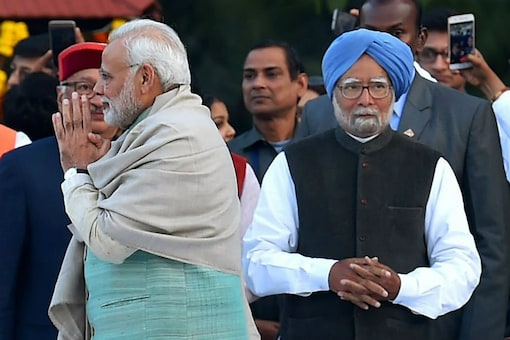 File photo of PM Narendra Modi and his predecessor Manmohan Singh. (PTI)