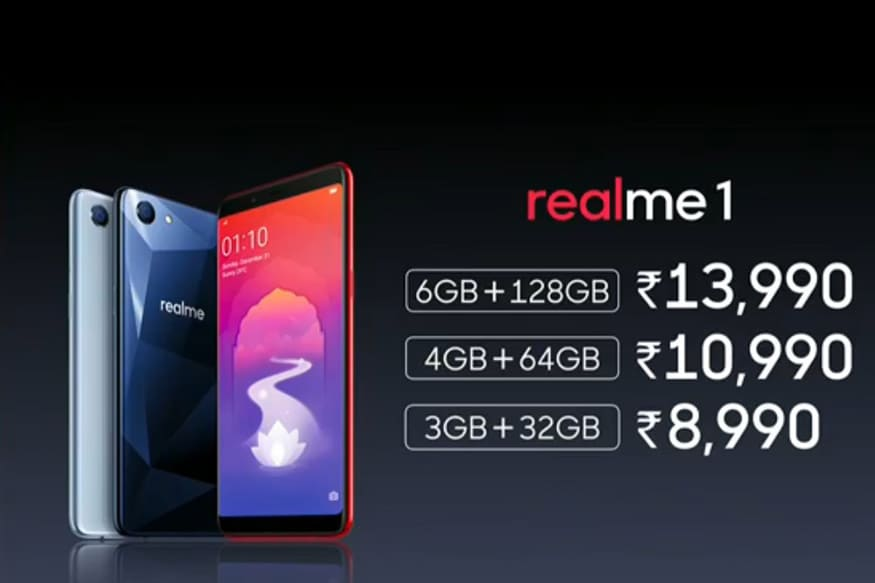 Realme 1 launched with 6GB RAM, 128GB ROM; Costs ₹13990
