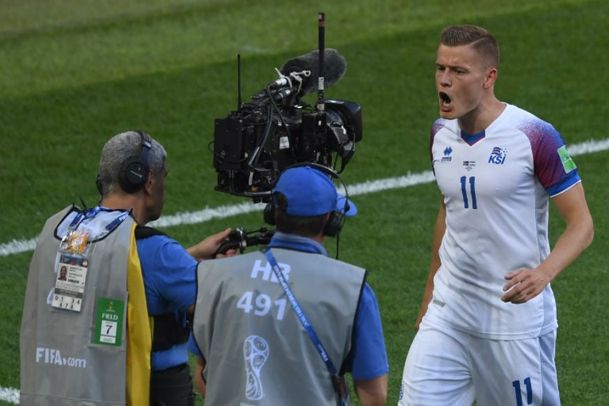 Iceland's Alfred Finnbogason celebrates after scoring against Argentina (Image: AFP)