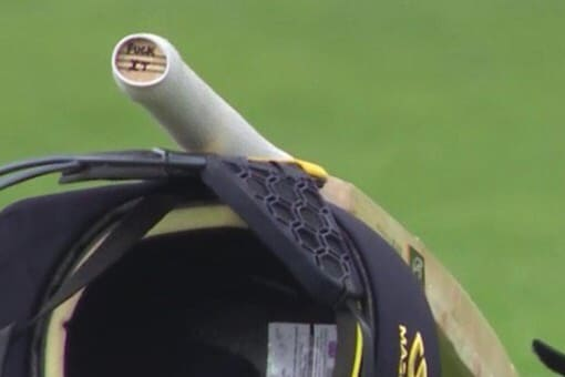 Jos Buttler's bat with the X-rated message. (Twitter/Andy Hoad)