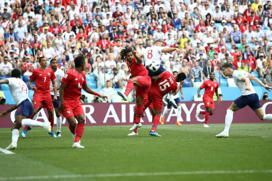 England's John Stones heads home the first goal (Image: FIFA)