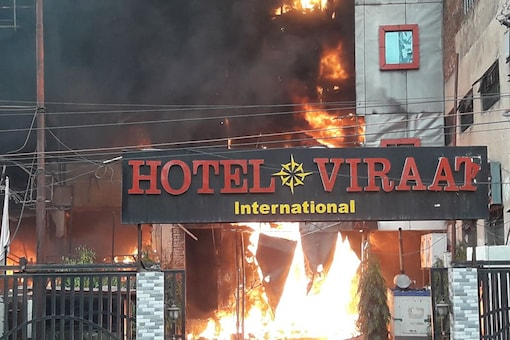 Five people were killed after a massive fire broke out at a hotel in Lucknow's Charbagh area on Tuesday (News18)