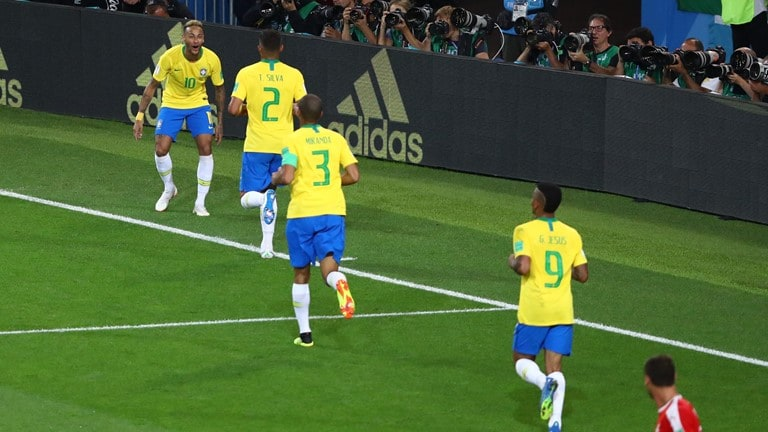 Thiago Silva celebrates after scoring for Brazil. (FIFA)