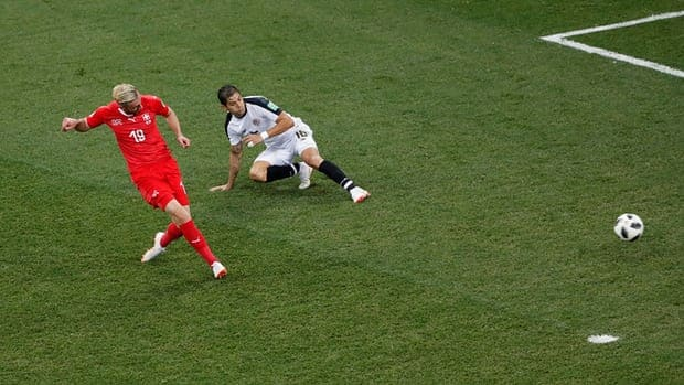 Drmic hits the second goal for Switzerland. (Reuters)