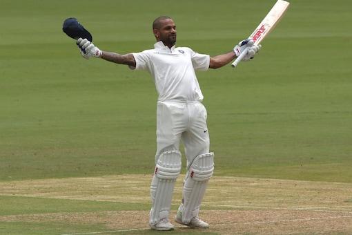 Shikhar Dhawan celebrates after scoring his 7th Test century. (Twitter/ BCCI)