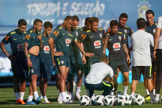 Brazil's Neymar and teammates during training. (Reuters)