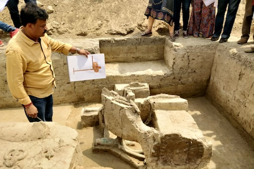 File photo of director SK Manjul from ASI showing the chariot from the excavation site at Sanauli in Uttar Pradesh.