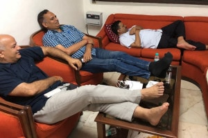 CM Arvind Kejriwal, Deputy CM Manish Sisodia at L-G's waiting room on Monday night. (Image via Twitter)
