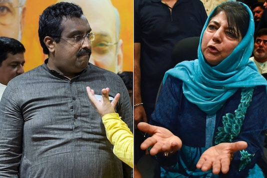 BJP leader Ram Madhav and PDP leader Mehbooba Mufti both addressed the media on Tuesday. (PTI photos)