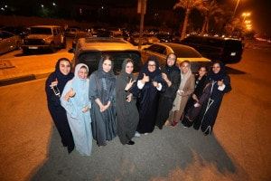 ]Saudi women celebrate after they drove their cars in Al Khobar,  Saudi Arabia