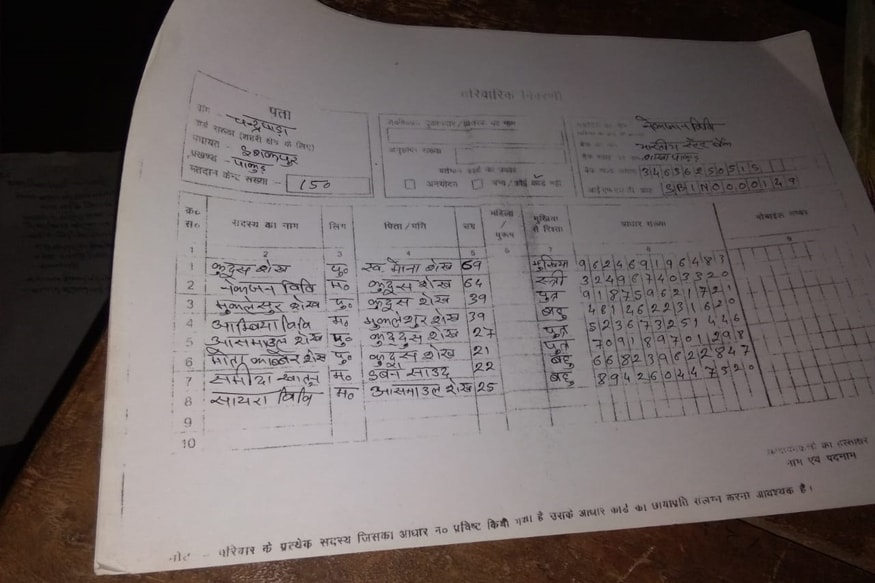 A page from the consolidated list of villagers who need ration-1